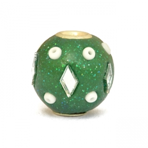 Shining Green Beads Studded with Seed Beads + Mirror Chips
