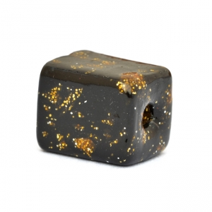 Black Square Beads having Golden Spots