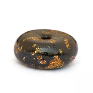 Black Disc Shaped Beads having Golden Spots