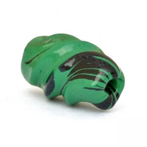 Green Twisted Beads having Black Spots
