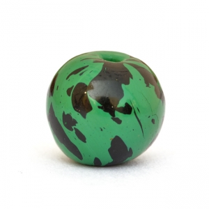Green Round Beads having Black Spots