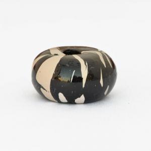 Black Disc Shaped Beads having White Spots