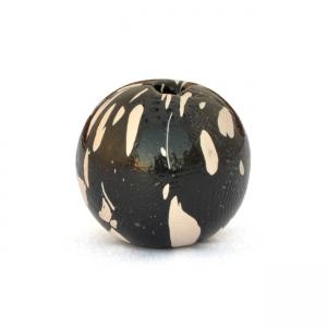 13mm Black Round Beads having White Spots