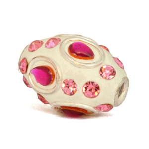 White Beads Studded with Metal Rings, Pink Cabochons & Pink Rhinestones