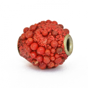 Red Glitter Beads Studded with Red Grains