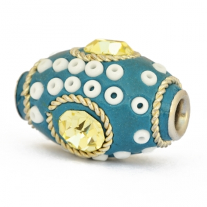 Blue Beads Studded with Metal Rings, Seed Beads & Rhinestones