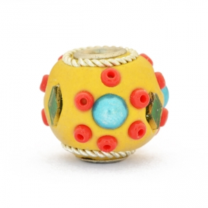 Yellow Beads Studded with Seed Beads, Mirror Chips & Accessories