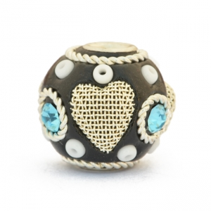 Black Beads Studded with Metal Rings, Hearts & Rhinestones