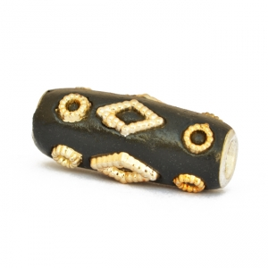 Black Kashmiri Beads Studded with Golden Color Accessories