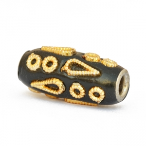 Black Cylindrical Beads Studded with Golden Color Accessories