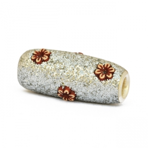 Silver Glitter Beads Studded with Flower Accessories
