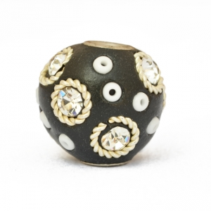 Black Beads Studded with Metal Rings, Seed Beads & Rhinestones