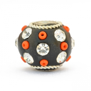 Black Kashmiri Beads Studded with Seed Beads & Rhinestones