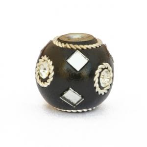 Black Beads Studded with Metal Rings, Mirrors & Rhinestones