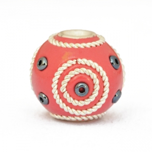 Red Kashmiri Beads Studded with Metal Rings & Seed Beads