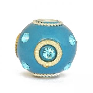 Blue Kashmiri Beads Studded with Blue Rhinestones & Accessories