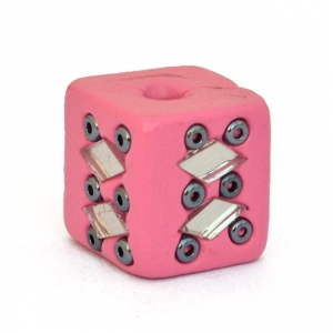 Pink Beads Studded with Mirror Chips & Seed Beads