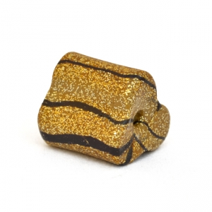 Golden Triangular Beads with Black Stripes