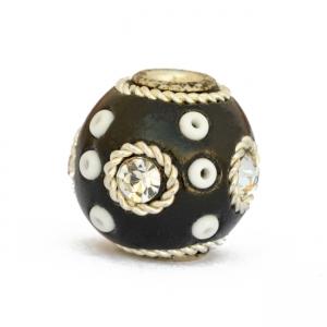 Black Beads Studded with Rhinestones, Metal Rings & Seed Beads