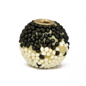 Black & White Grain Kashmiri Beads