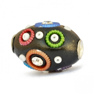 Black Beads Studded with Seed Beads & Colorful Rings
