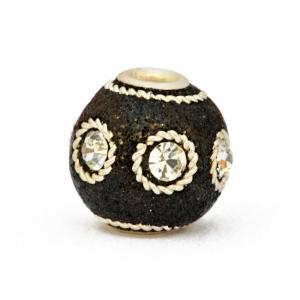 Black Glitter Beads Studded with Metal Rings & White Rhinestones