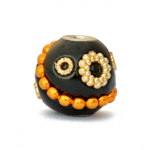 Black Kashmiri Beads Studded with Metal Chain & Accessories