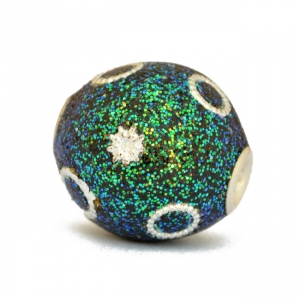 Teal Glitter Beads Studded with Metal Rings & Accessories