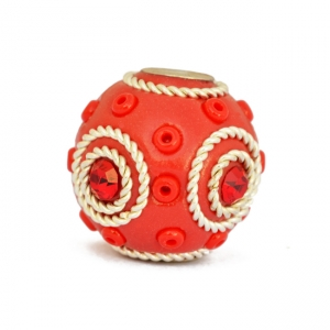 Red Beads Studded with Metal Rings & Seed Beads