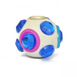 White Kashmiri Beads Studded with Blue Color Accessories