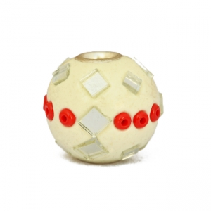 White Kashmiri Beads Studded with mirrors & Seed Beads