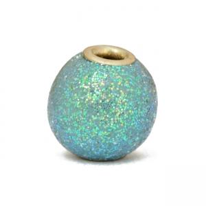 Aqua Glitter Kashmiri Beads