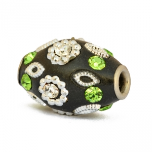 Black Beads Studded with White + Green Rhinestones & Accessories