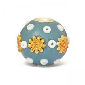 Blue Beads Studded with Seed Beads & Flower Accessories