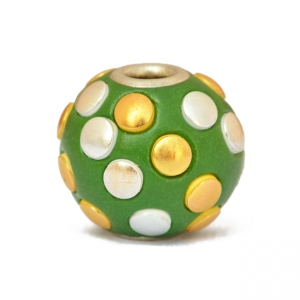 Green Beads Studded with Golden + Silver Accessories