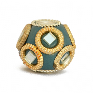 Blue Kashmiri Beads Studded with Golden Rings & Mirrors