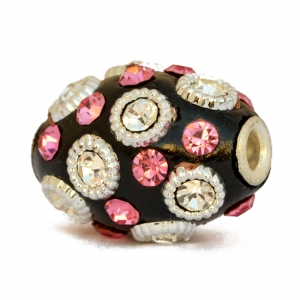 Black Beads Studded with Silver Rings & Pink + White Rhinestones
