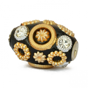 Black Beads Studded with Rhinestones & Golden Accessories