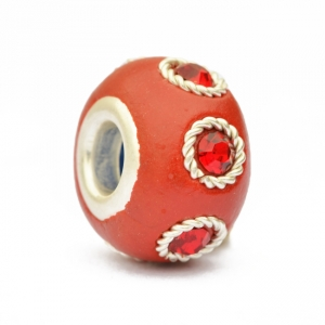 Red Euro Style Beads Studded with Metal Rings & Rhinestones