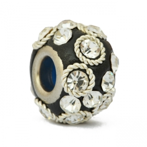 Black Euro Style Beads Studded with Rhinestones + Metal Rings