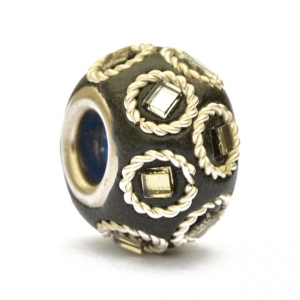 Black Euro Style Beads Studded with Metal Rings & Mirrors
