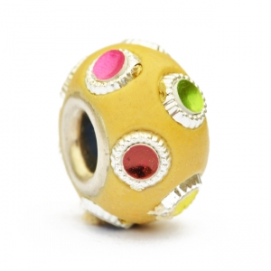 Yellow Euro Style Bead Studded with Colorful Accessories
