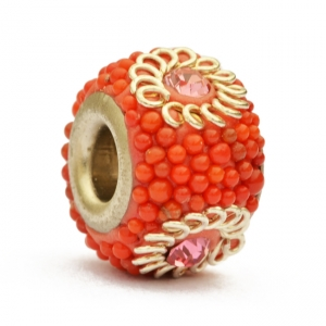 Red Euro Style Bead Studded with Red Grains & Rhinestones