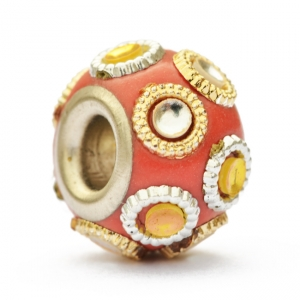 Red Euro Style Bead Studded with Rings & Accessories