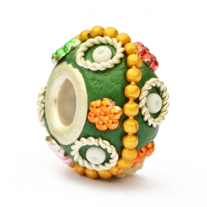 Green Euro Style Bead Studded with Metal Rings & Accessories