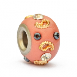 Pink Euro Style Bead Studded with Rhinestones & Accessories