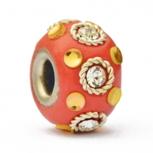 Red Euro Style Bead Studded with Rhinestones + Accessories