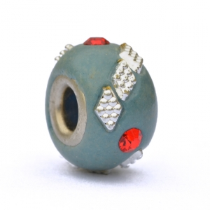 Blue Euro Style Bead Studded with Rhinestones & Accessories