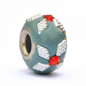 Blue Euro Style Bead Studded with Red Rhinestones + Accessories