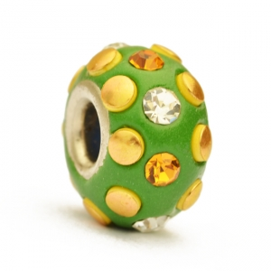 Green Euro Style Bead Studded with Rhinestones & Accessories